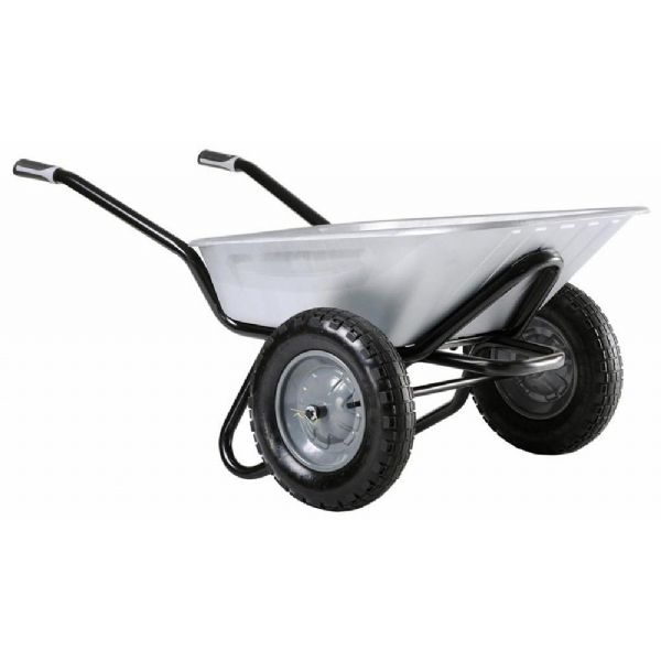 Twin Wheel Original 90 Ltr Wheelbarrow With Galvanised Tray